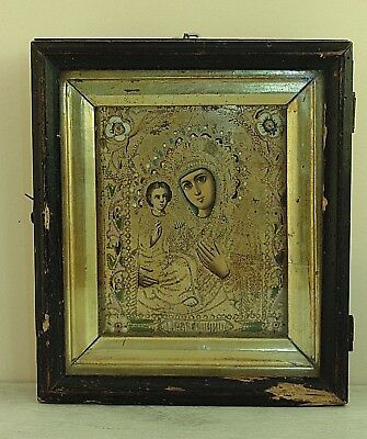 Antique 19th  Russian Hand Painted Wooden Icon Mother of God, kiot, gold leaf