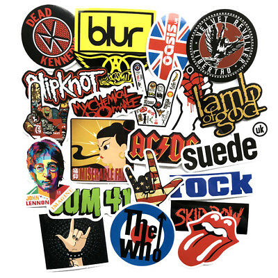 52Pcs Rock Band Stickers Musician Decals For Car PC Luggage Laptop Phone Vinyls