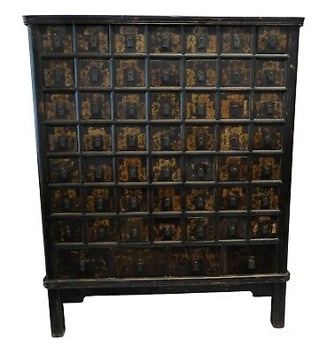 Antique Chinese Lacquered and Gilded Spice Cabinet circa 1900