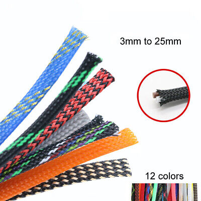 3/4/6/8/10/12/14/16 - 25mm Dia. Expandable Braided PET Cable Sleeving Multicolor