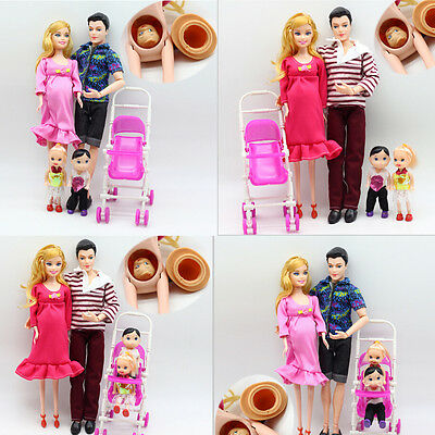 UK 6pcs/lot Dolls Family Educational Real Pregnant Doll Happy Family for Barbie