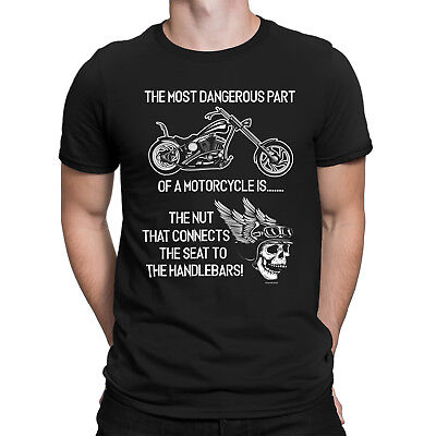 THE MOST DANGEROUS PART OF A MOTORCYCLE IS Mens Funny Biker T-Shirt Motorbike