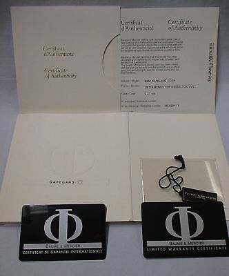 Baume & Mercier CapeLand Automatic Watch Instructions Manual Warranty Cards Tag+