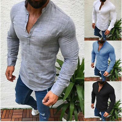 Men's Slim Fit V Neck Long Sleeve Muscle T-shirt Casual Tops Henley Shirt Blouse