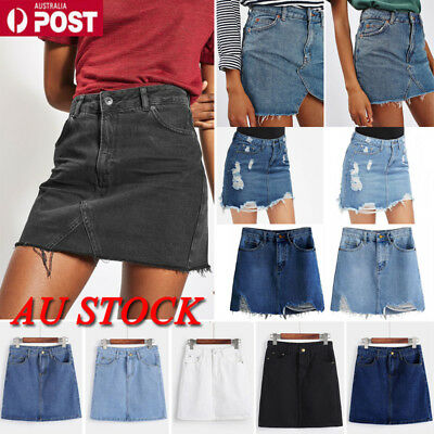 AU Women High Waist Denim Skirt Bodycon Slim Fit Casual Pencil Mini Skirt Jeans