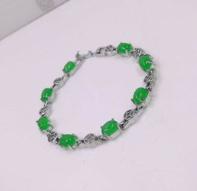 Genuine 18KGP Emerald-Green Jade Bracelet Engagement Eternity 17-18cm