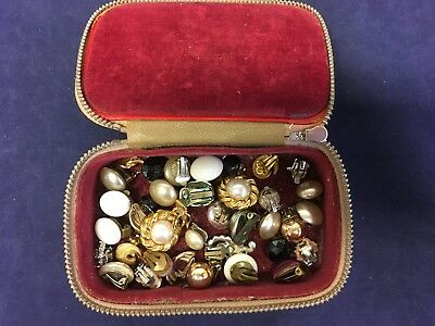 Job Lot of 15 pairs vintage clip ear-rings in leather case costume jewellery -B2