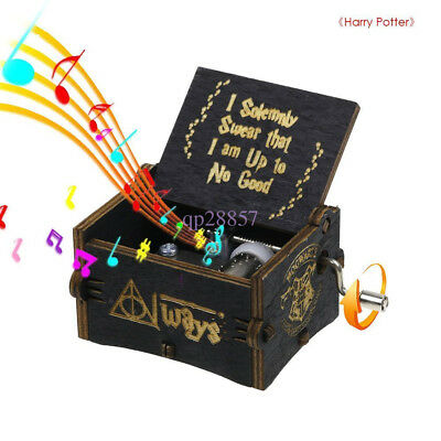 Harry Potter Music Box Black Engraved Wooden Interesting Craft Xmas Gift Kid Toy