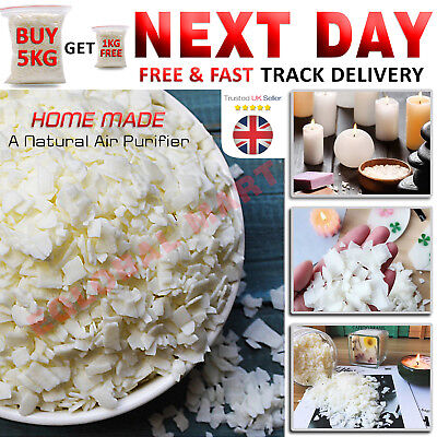 5KG + 1KG Free Soy Wax Flakes Beeswax Smokeless Candles Making Burning Supplies