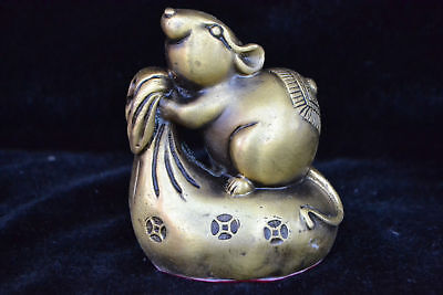 Collectible Old Copper Handwork mice on monkey bag chinese Statue