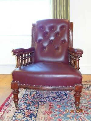 Antique Victorian Mahogany Library Club Chair