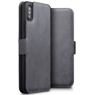 Terrapin Low Profile Genuine Leather Wallet Case for iPhone XS Max - Grey