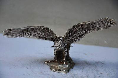 Delicate Chinese Silver Copper Handmade Carved Eagle Statue