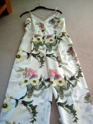 BNWT of £65 Ladies Cream Flowery Cropped Cullotte Playsuit From Next Size 12