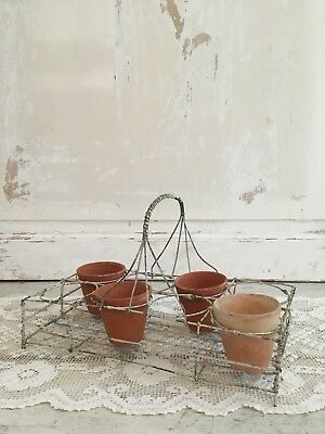 Antique French Chippy White Painted Wire Garden Carrier