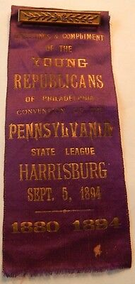 1894 Young Republicans Of Philadelphia Pa State League Harrisburg Ribbon Nice !!