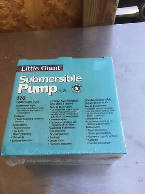 Little Giant 170gph PE-1F-WG Submersible Pond Water Pump Epoxy Sealed 1/125 HP.