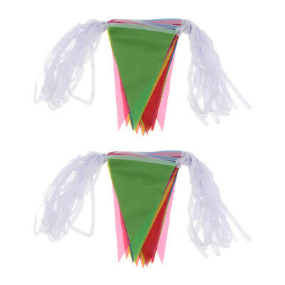Multicolor Triangle Flag Garland Bunting Banner Pennant Festival Supply 40m