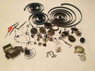 Large Lot Vintage Clock Parts Springs, Gears, Tools, Hammers, Etc.