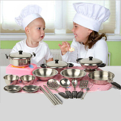 32Pcs Set Kids Play House Kitchen Toys Cookware Cooking Utensils Pots Pans Gift