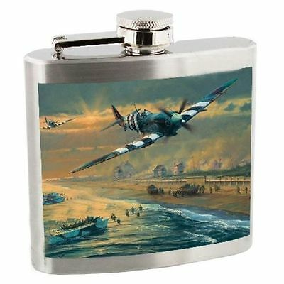 RAF Royal Air Force Stainless Steel 5 oz Hip Flask - Spitfire & D Day Landings