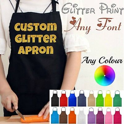 Glitter Personalised Custom Printed Kitchen Chefs Apron Overalls Funny Novelty