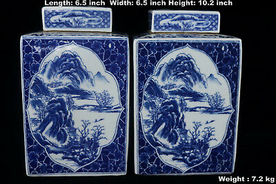 Chinese Beautiful Pair Blue and White Porcelain Landscape View Tea Caddies