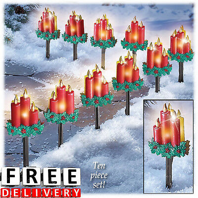 Christmas Pathway Lights 10pc Outdoor Decoration Garden Lawn Walkway Holiday