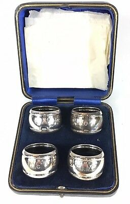 """R F Mosley & Co 1894 Set Of Four Solid Silver Napkin Rings Inscribed """"JRC"""""""