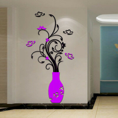 Hot Sale Stylish Floral DIY 3D Wallpaper Acrylic Crystal Wall Stickers Living