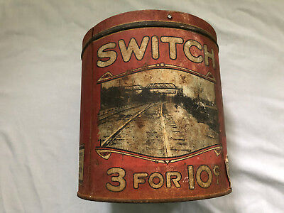 Vintage SWITCH CIGAR Tin Railroad RR Tracks 3 for 10 cents EARLY RARE dd