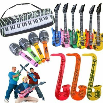 16*Inflatable Music Instruments Guitar/Microphone/SAXOPHONE COLOURFUL BLOW UP UK