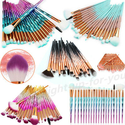 10-20 PCS Unicorn Diamond Makeup Brushes Set Foundation Eyeshadow Lip Powder LH