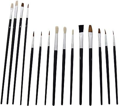 Am-Tech 15pc Artists Paint Brush Set - Small & Round Tipped - S4000