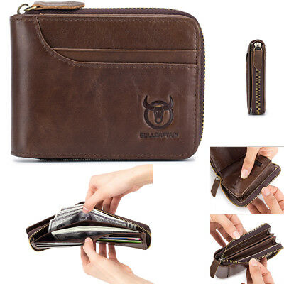 Genuine Leather Mens Wallet Zipper Coin Purse Vintage Retro Style Short Wallet