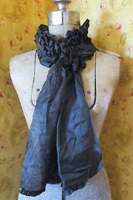 Antique Victorian Silk Ruffled Scarf or Head Cover Collar lappets