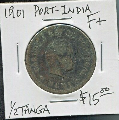 Portuguese India - Beautiful Historical Carlos I Bronze 1/2 Tanga, 1901