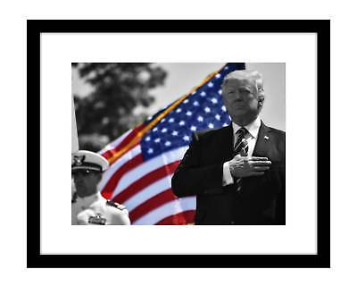 Donald Trump 8x10 Photo Print Black & White with US Flag Color President
