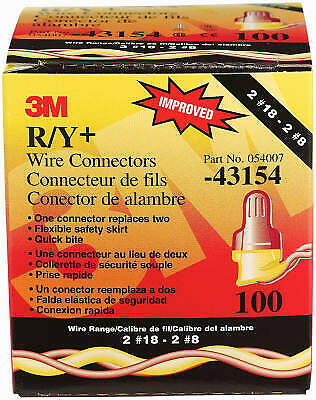3M RYPLUS R/Y+Wire Connector, Red & Yellow, 100-Pk.