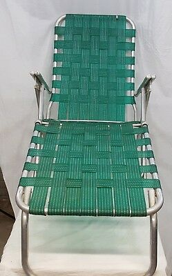 Vintage Aluminum Lounge Chair Folding Lawn Patio Green Webbed Chaise