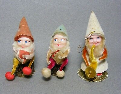 3 Vintage Christmas Pine Cone Pipe Cleaner Elves
