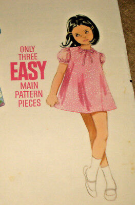 Vtg Butterick Pattern 4730 EASY Little Girl's DRESS Only 3 Main Pieces - Size 6