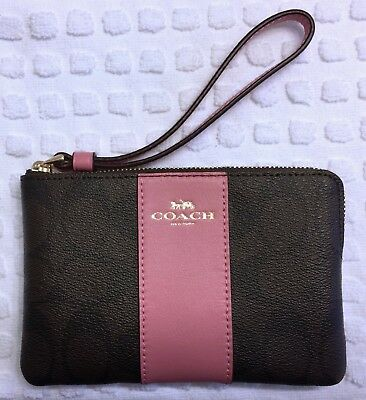 Nwt Authentic Coach Wristlet Black & Brown Signature Coated Canvas Pink Leather