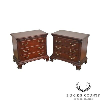 Stoneleigh Mahogany Chippendale Style Pair of Chests Nightstands by Stanley