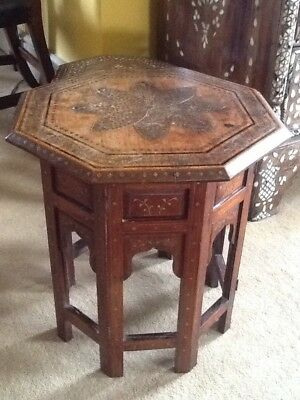 Antique Circa 1900 Kashmiri Anglo Indian Rosewood Brass Inlaid Octagonal Table