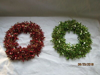 Pair Red & Green Metallic Tinsel 10 INCH Christmas Wreaths Decoration NICE