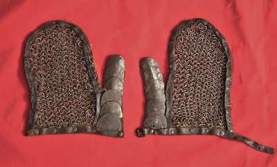 Antique Gauntlets Polish Hussar Armor Made Of Medieval Chainmail to sword Poland