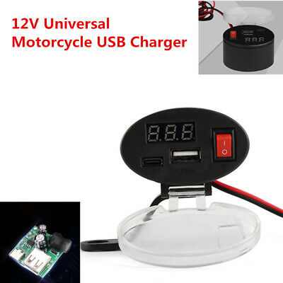 Fashion 12V Waterproof USB Motorcycle Handlebar Charger Socket w/ Switch& Mounts