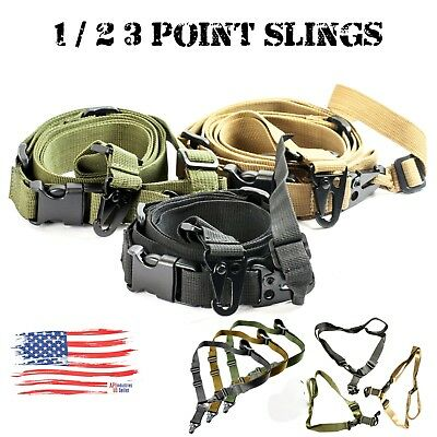 Adjustable Tactical 1/2 or 3 Point Sling Bungee Sling System Strap