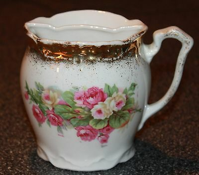Antique Mustache Cup Mug Pink & White Roses
